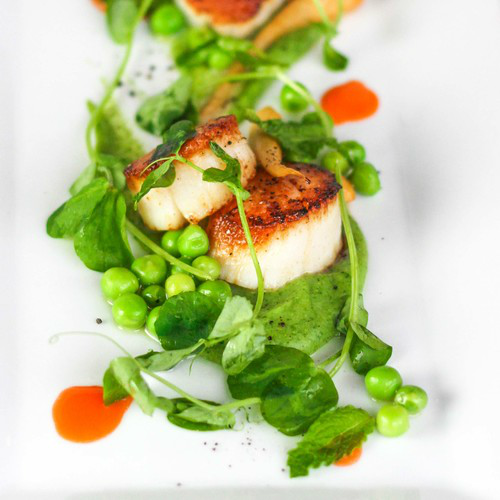 Sea Scallops with Peas and Carrots from Saison